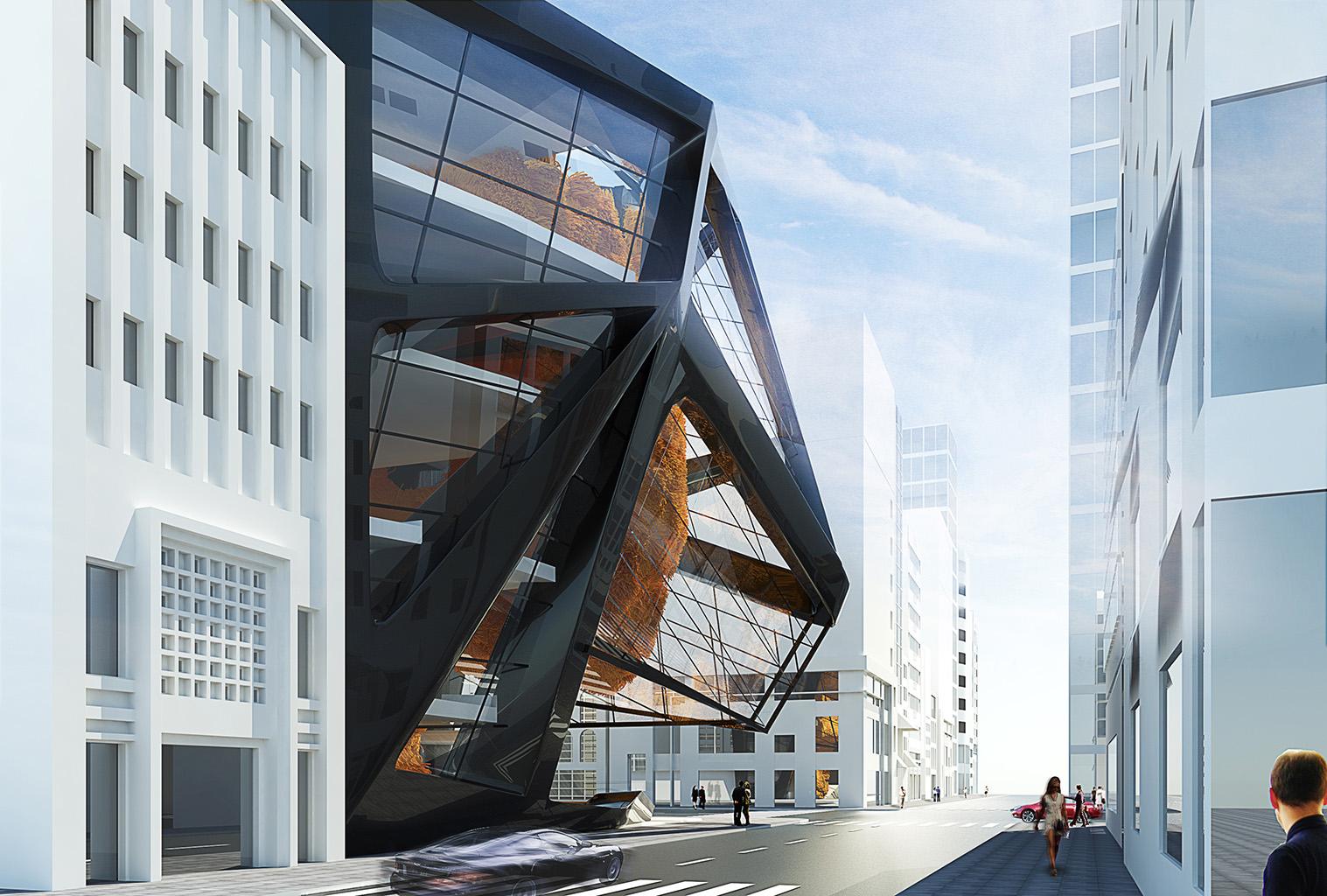 Street view Shop Seoul - e Bléck architects - Philippe Grotenrath